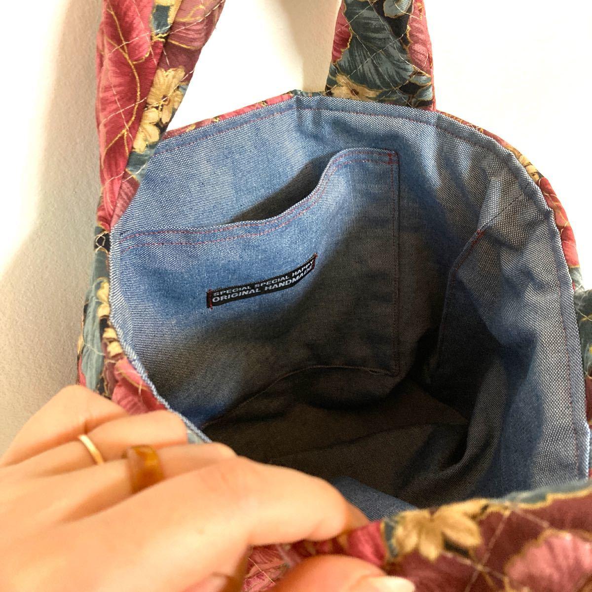 ハンドメイド  トートバック ハンドメイド バッグ キルト バッグ  花柄 ハンドバッグ