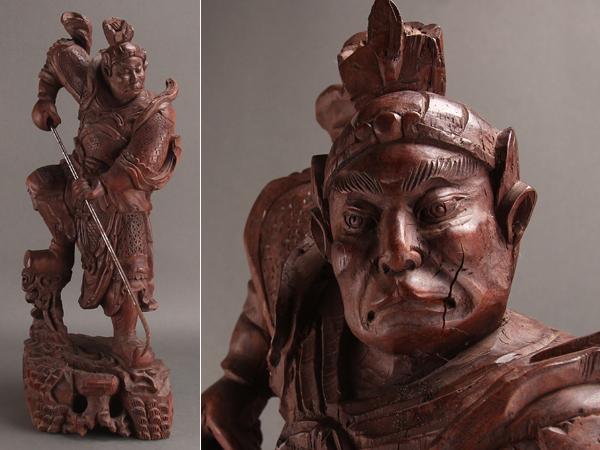 【琴》送料無料 古美術品 木彫人物置物 高80.5cm JZ437