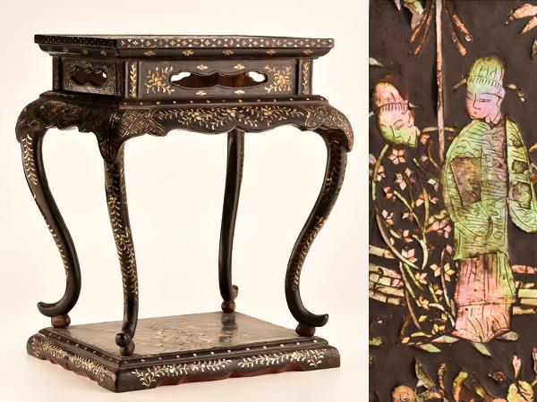 【琴》送料無料 古美術品 時代唐物 青貝螺鈿飾り台 高卓 箱付 WE773
