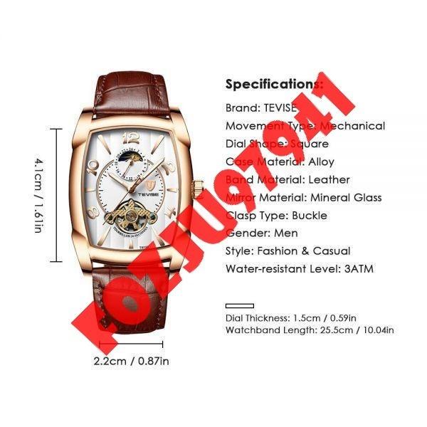 A0272:メンズ高級腕時計 41mm 機械式 自動巻き スクエアデザイン トゥールビヨン 本革ベルト 紳士 ウォッチ 夜光 防水_画像5
