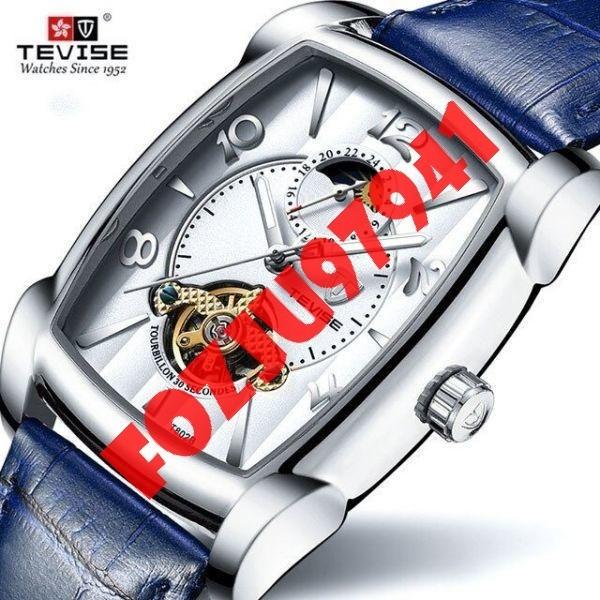 A0272:メンズ高級腕時計 41mm 機械式 自動巻き スクエアデザイン トゥールビヨン 本革ベルト 紳士 ウォッチ 夜光 防水_画像1