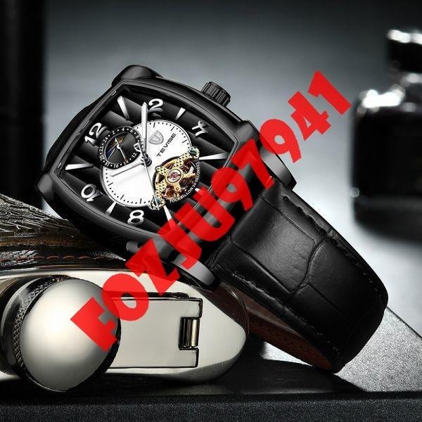 A0272:メンズ高級腕時計 41mm 機械式 自動巻き スクエアデザイン トゥールビヨン 本革ベルト 紳士 ウォッチ 夜光 防水_画像4