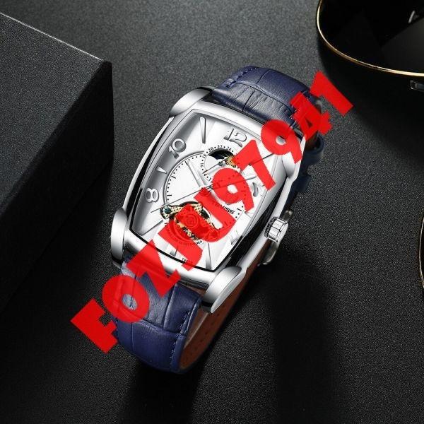 A0272:メンズ高級腕時計 41mm 機械式 自動巻き スクエアデザイン トゥールビヨン 本革ベルト 紳士 ウォッチ 夜光 防水_画像2