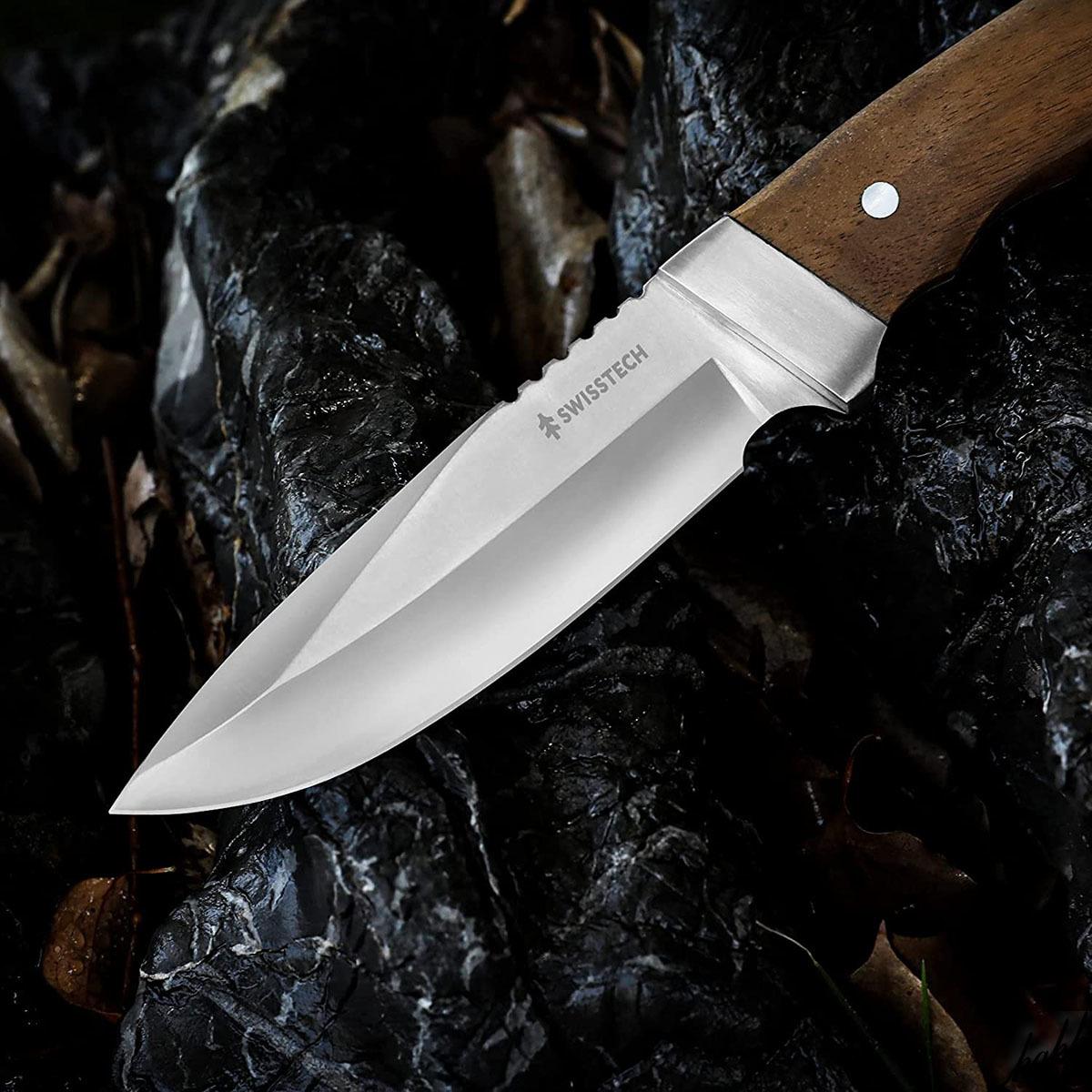 【手に馴染む天然ウッドハンドル】 シースナイフ フルタング ステンレス鋼 ドロップポイント バトニング 専用ケース付き