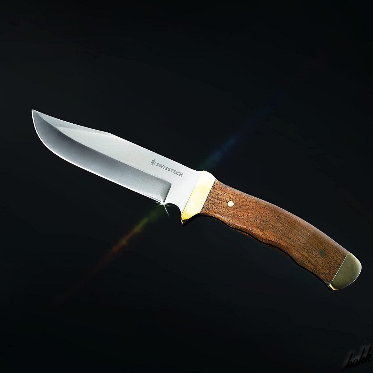 【握りやすいフィンガーレール構造】 シースナイフ 狩猟刀 フルタング構造 天然ウッドハンドル ステンレス鋼 お手入れ簡単 アウトドア