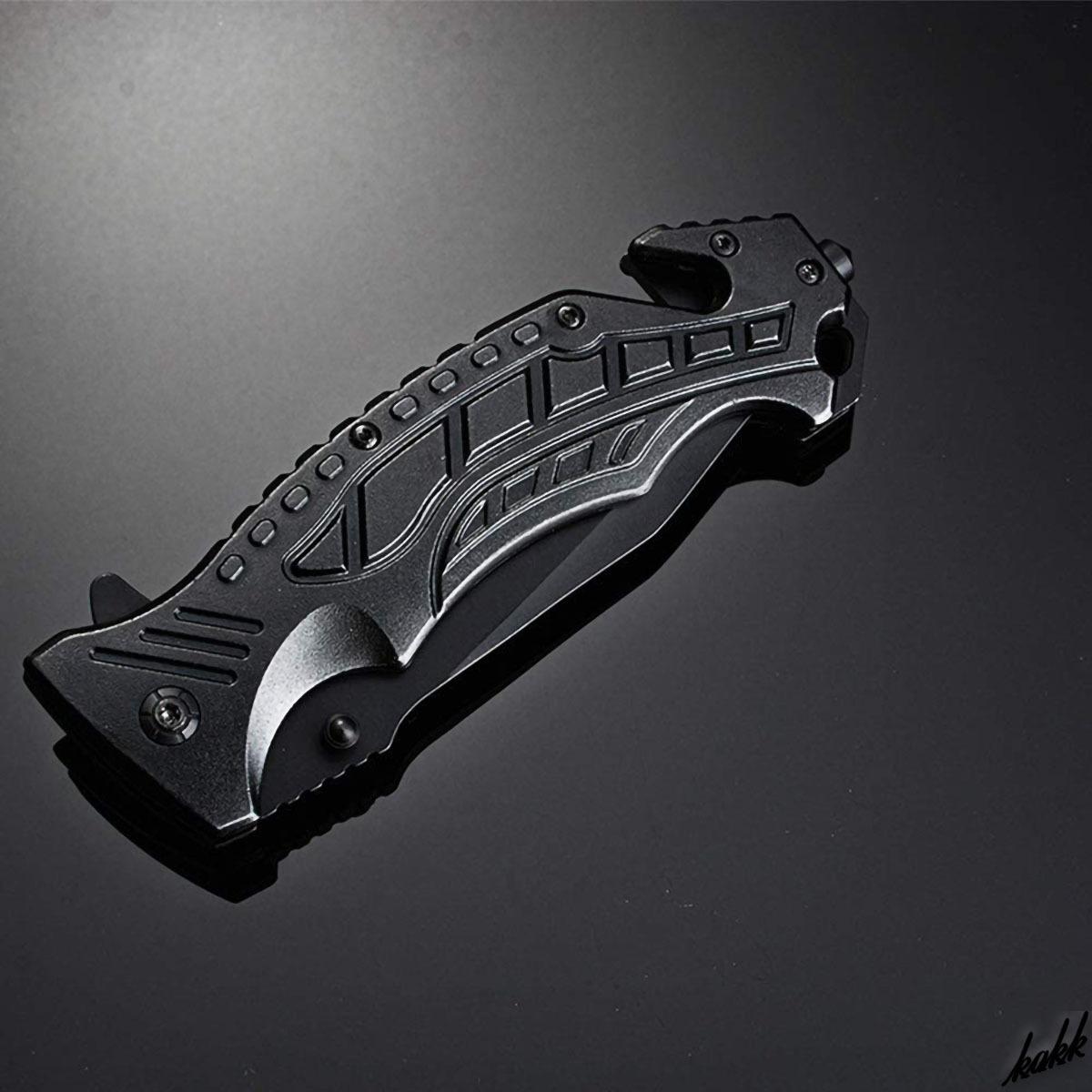 【多機能フォールディングナイフ】 折りたたみ クイックオープン機能 マルチツール 黒染め加工 ステンレス鋼 携帯に便利 アウトドア
