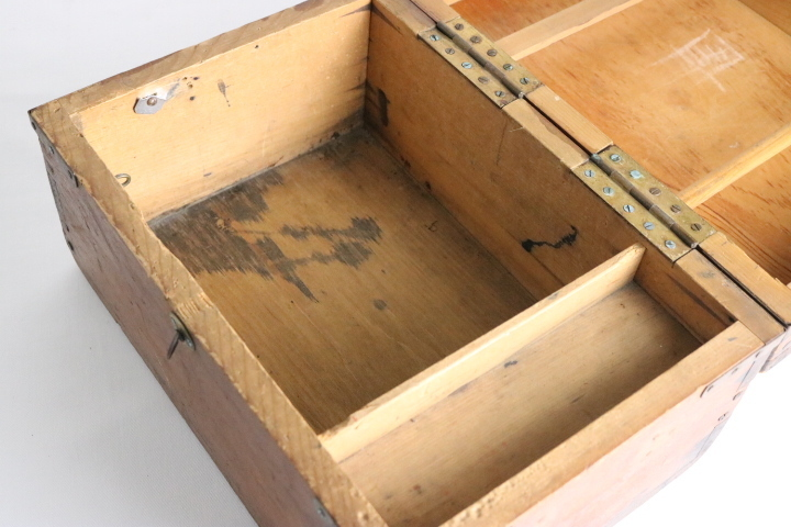 TB526真鍮金具の木箱 ビンテージ ウッドボックス◇小箱/BOX/収納/道具箱/小物入れ/インテリア/雑貨/容器/シャビー/古道具タグボート_画像5