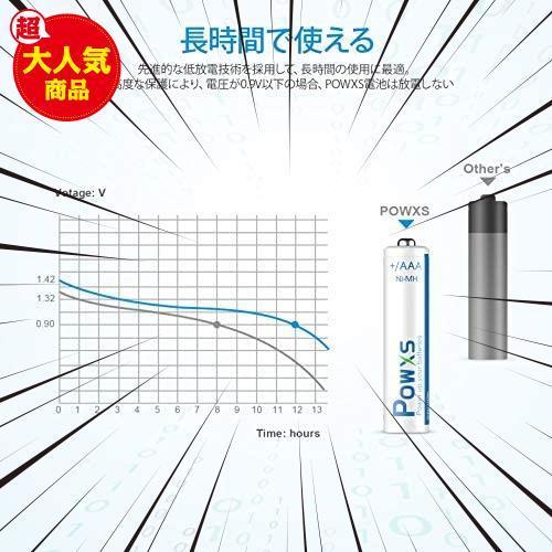 約1200回使用可能 高容量800mAh ニッケル水素電池 ケース2個付き POWXS 低自己放電 液漏れ防止 単四充電池 単四電池 8本入り 充電式_画像3