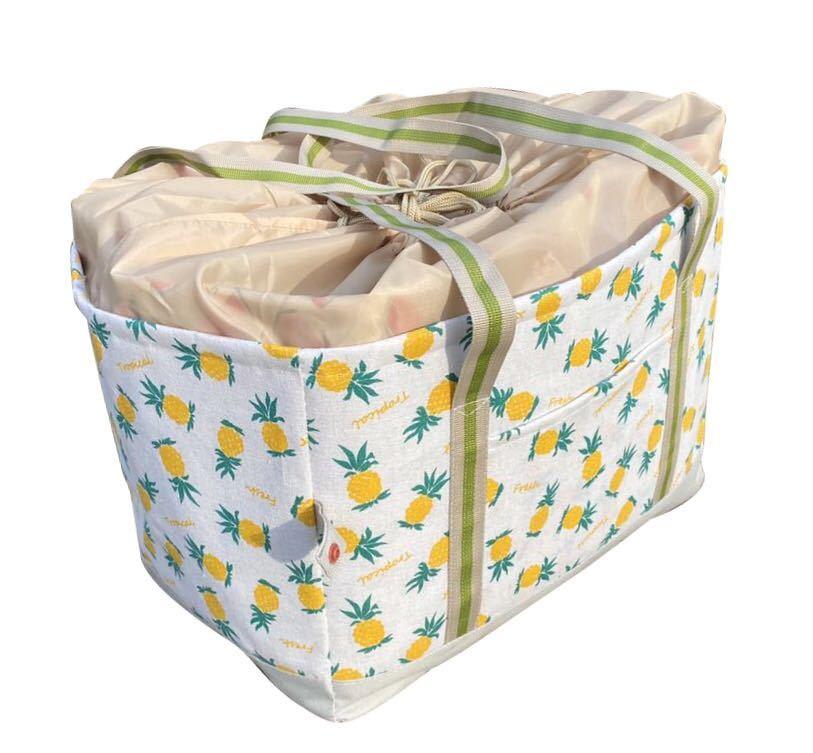レジカゴバッグ 保冷保温折りたたみエコバッグ 大容量レジかごバックパイナップル柄
