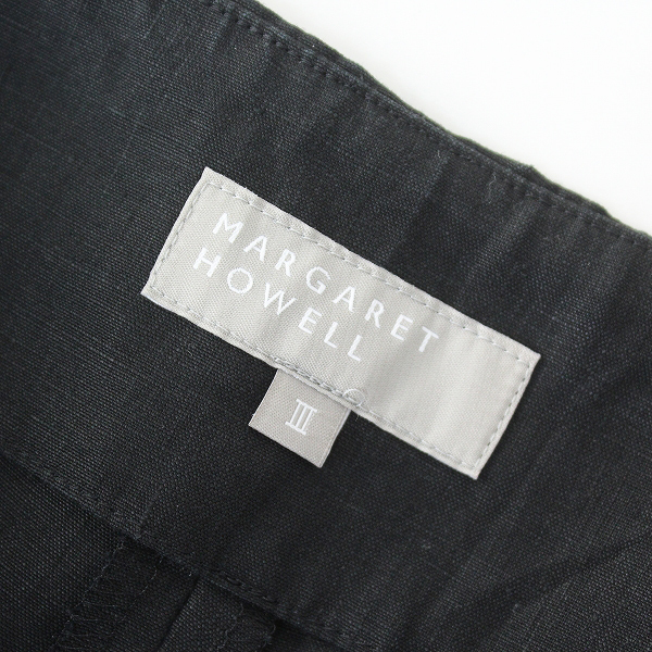 MARGARET HOWELL マーガレットハウエル リネンワイドパンツ 3/ブラック クロ トラウザーパンツ【2400012453524】_画像6