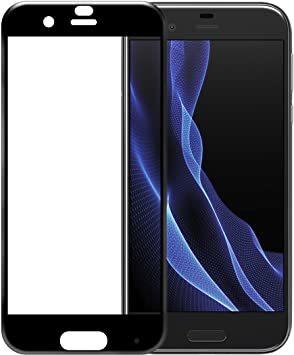 ブラック AQUOS R AQUOS R/SH-03J/SHV39 全面保護 強化ガラス保護フィルム フルカバー 旭硝子製ガラス_画像1