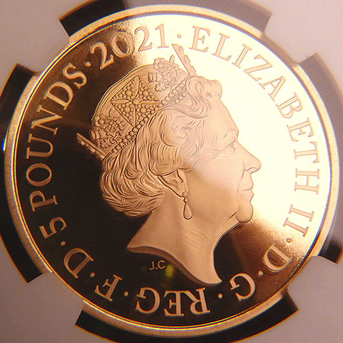 イギリス 2021年 ロイヤル・アルバート・ホール開場150周年記念 英国 5ポンド 金貨 NGC PF70UC【最高鑑定】_画像3
