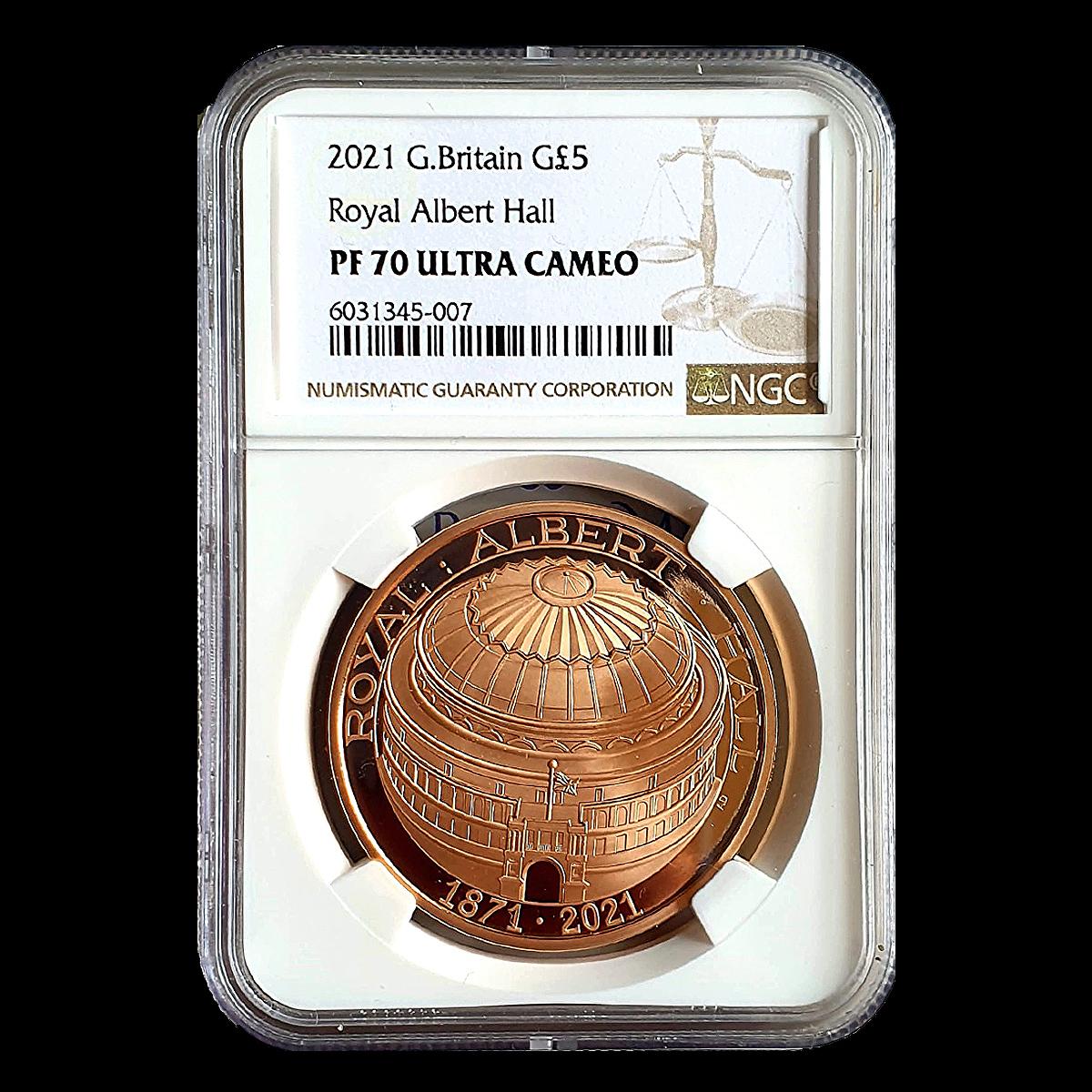 イギリス 2021年 ロイヤル・アルバート・ホール開場150周年記念 英国 5ポンド 金貨 NGC PF70UC【最高鑑定】_画像4