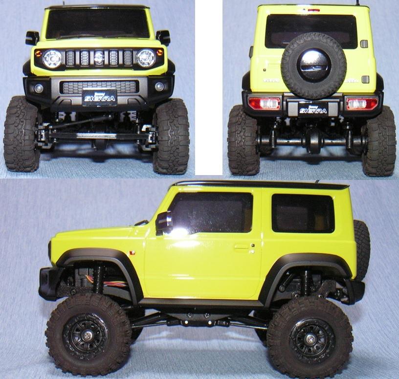 ミニッツ 4×4 ジムニー用 金属製変換ハブ+RGTタイヤ黒+ボディ10mmリフトアップ 京商 Kyosho Mini Z 4x4 Jimny
