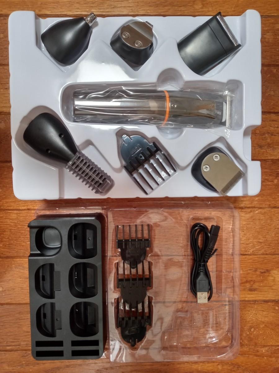 電動バリカン シェーバー 全身グルーミング 6in1 LEDディスプレイ 安全 充電式 USB ヒゲトリマー 鼻毛カッター