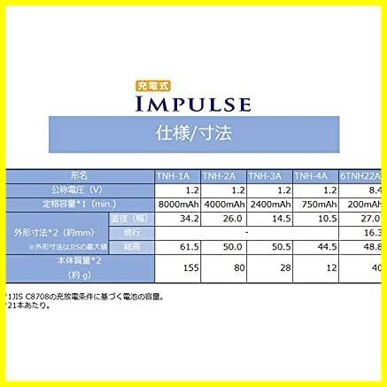 ◆1つ限り◆ TOSHIBA ニッケル水素電池 充電式IMPULSE 高容量タイプ ify1475 単3形充電池(min.2,400mAh) 4本 TNH-3A 4P_画像5