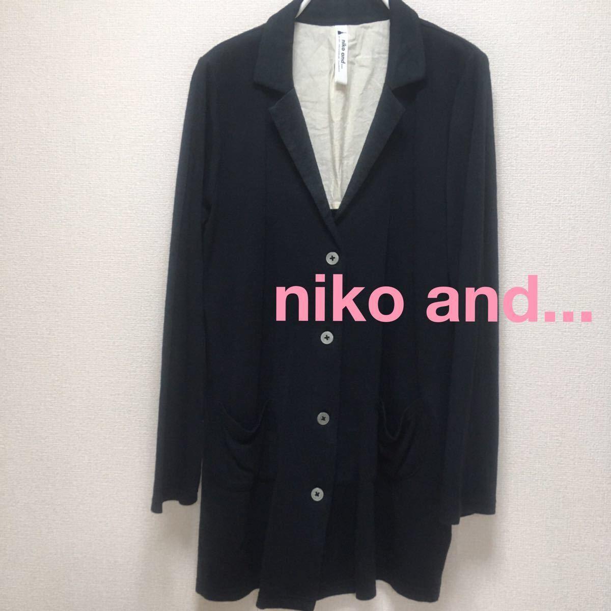 ニコアンド niko and... コーディガン ジャケット風カーディガン ニットチェスターコート 黒色 ブラック