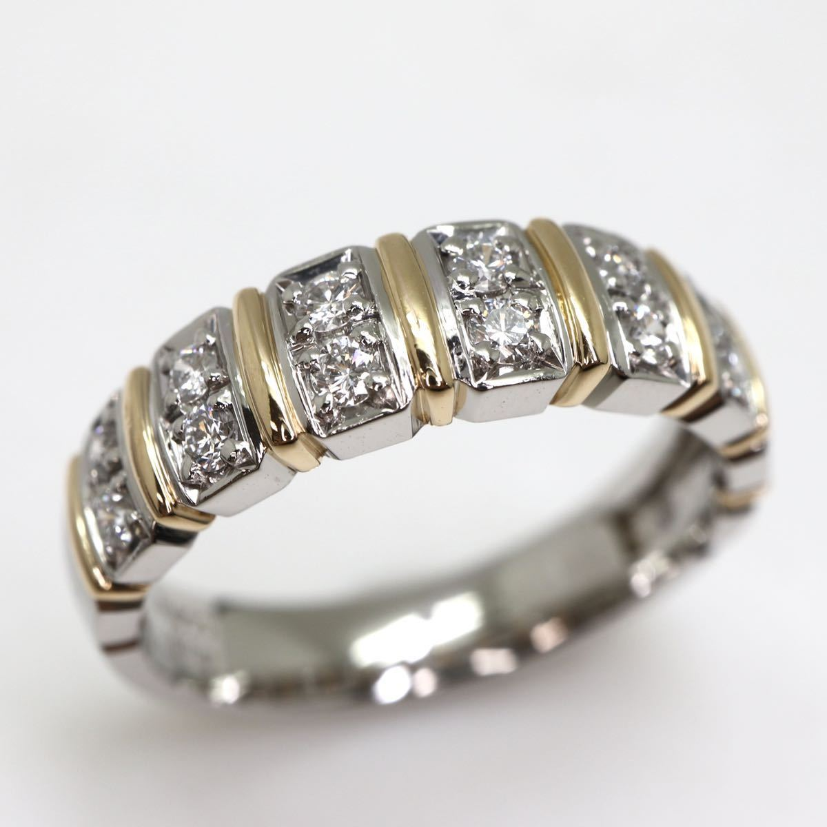 【Ambrose(アンブローズ)】天然ダイヤモンドリング 0.27ct Pt900/K18 5.4g 【サイズ変更無料】【新品仕上げ済】EB3