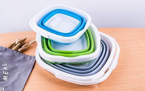 グリーン 5L EtetnalWings 正方形 折りたたみ バケツ 洗車 掃除 洗濯 アウトドア 園芸 釣り コンパクト 収納_画像3