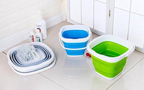 グリーン 5L EtetnalWings 正方形 折りたたみ バケツ 洗車 掃除 洗濯 アウトドア 園芸 釣り コンパクト 収納_画像5
