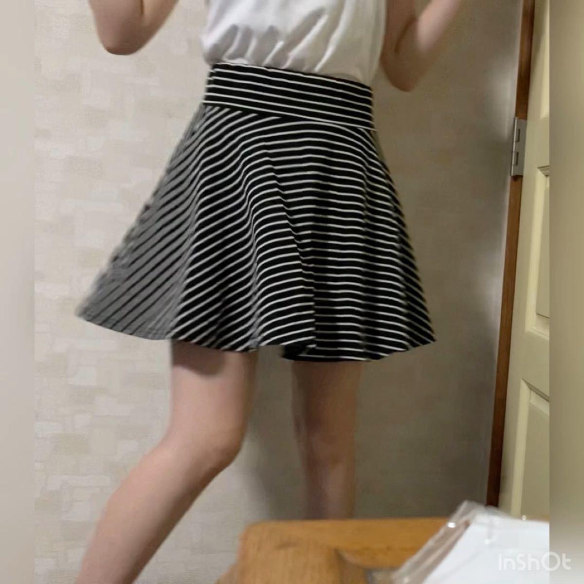 お値下げ フレアースカート フレアスカート ストライプスカート