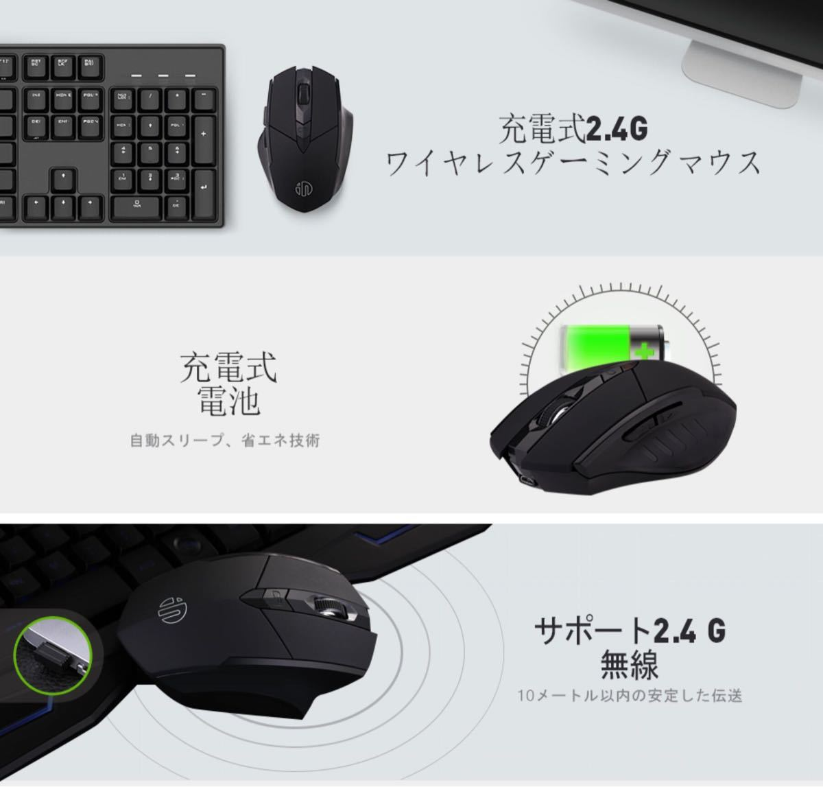 inphic ワイヤレスマウス 光学式 無線 6ボタン マウス Bluetooth グレー