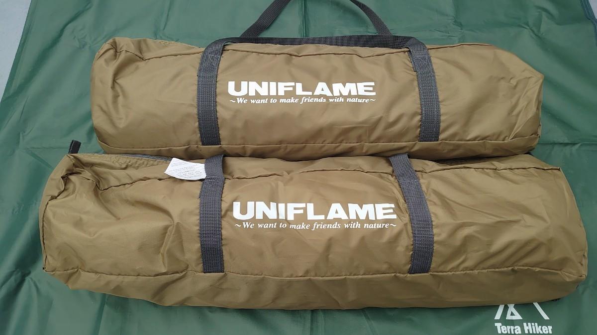 UNIFLAME ユニフレーム REVOタープSOLOウォールセット カーキ 682043 1回使用のみ ポール ペグ付き
