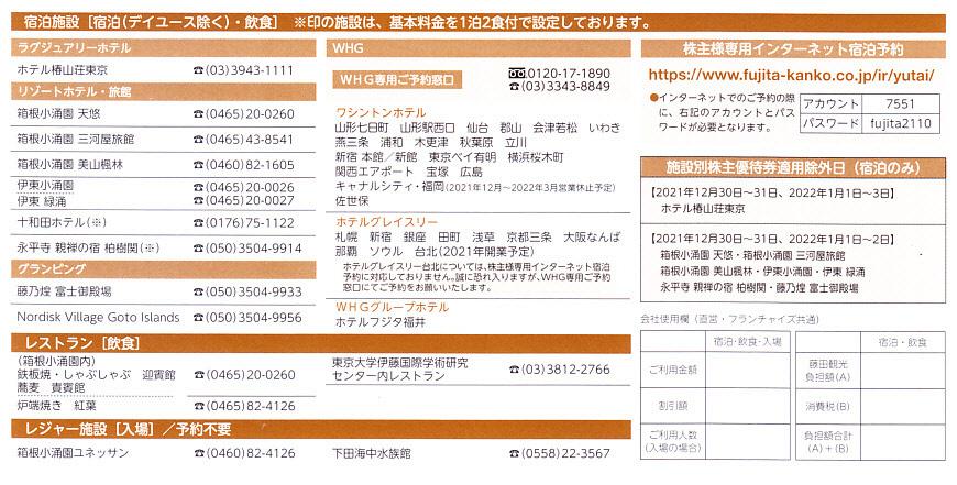 《最新-3月末》藤田観光株主優待券 ワシントンホテル50%割引券 -1枚- -送料格安の63円-  (有効期間:2022年3月末)_画像2
