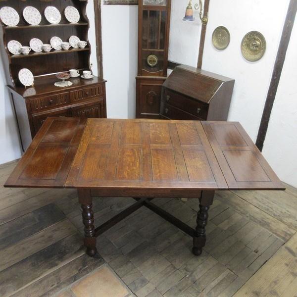 イギリス アンティーク 家具 ダイニングテーブル ドローリーフテーブル 拡張天板 木製 オーク 英国 TABLE 6144c_画像3