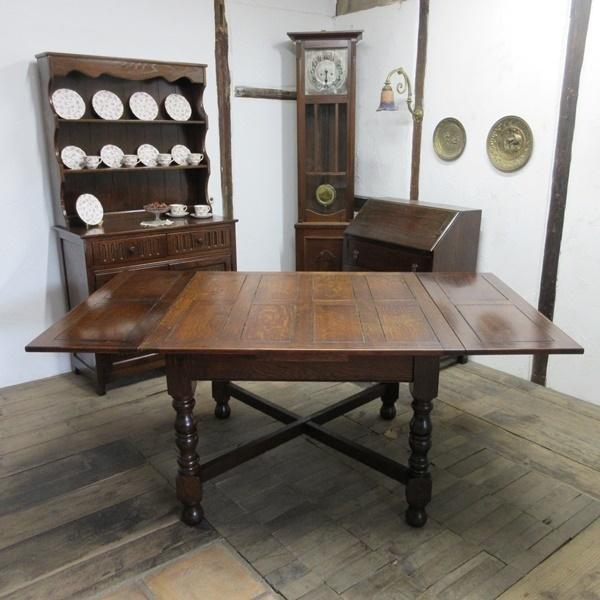 イギリス アンティーク 家具 ダイニングテーブル ドローリーフテーブル 拡張天板 木製 オーク 英国 TABLE 6144c_画像2