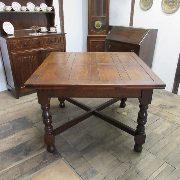 イギリス アンティーク 家具 ダイニングテーブル ドローリーフテーブル 拡張天板 木製 オーク 英国 TABLE 6144c_画像6