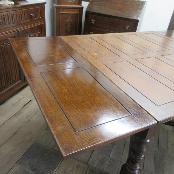 イギリス アンティーク 家具 ダイニングテーブル ドローリーフテーブル 拡張天板 木製 オーク 英国 TABLE 6144c_画像7
