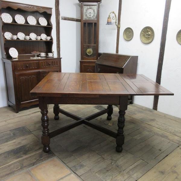 イギリス アンティーク 家具 ダイニングテーブル ドローリーフテーブル 拡張天板 木製 オーク 英国 TABLE 6144c_画像5