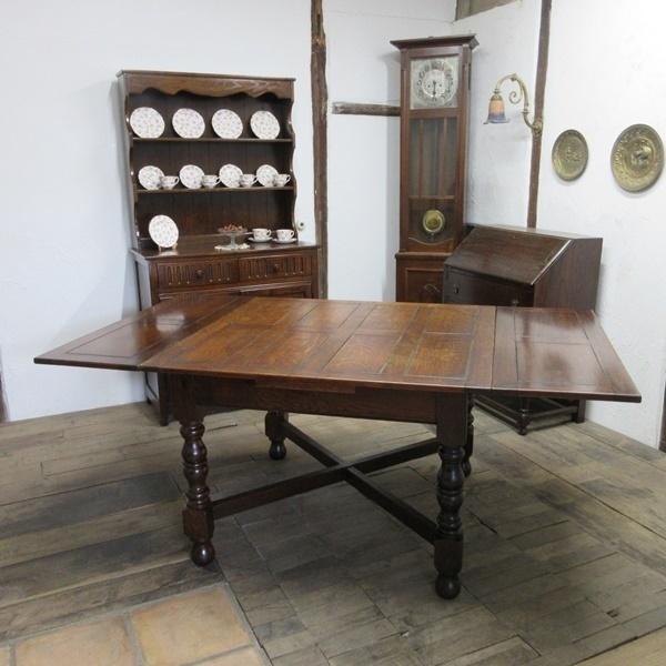 イギリス アンティーク 家具 ダイニングテーブル ドローリーフテーブル 拡張天板 木製 オーク 英国 TABLE 6144c_画像1