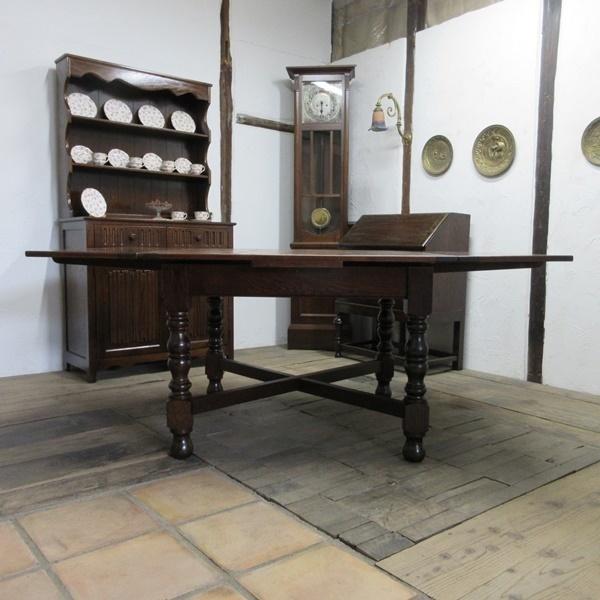 イギリス アンティーク 家具 ダイニングテーブル ドローリーフテーブル 拡張天板 木製 オーク 英国 TABLE 6144c_画像4