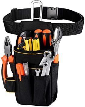 □セール□ブラック [VOW&ZON] 工具入れ 腰袋 工具袋 小物入れ 作業袋 ウエストバッグ カラビナフック ベルト付 多機能_画像1
