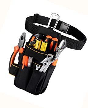 □セール□ブラック [VOW&ZON] 工具入れ 腰袋 工具袋 小物入れ 作業袋 ウエストバッグ カラビナフック ベルト付 多機能_画像8