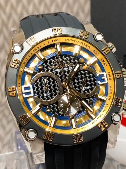 NEWモデル 新品 テクノス TECHNOS 腕時計 クロノグラフ カーボン文字盤 ラバーベルト ゴールド 国内正規保証送料無料 セーム革付_画像3