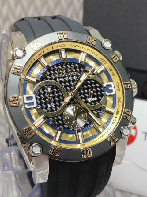 NEWモデル 新品 テクノス TECHNOS 腕時計 クロノグラフ カーボン文字盤 ラバーベルト ゴールド 国内正規保証送料無料 セーム革付_画像4
