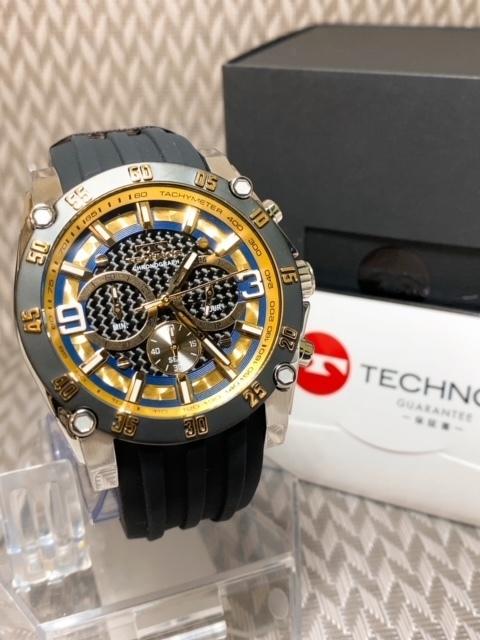 NEWモデル 新品 テクノス TECHNOS 腕時計 クロノグラフ カーボン文字盤 ラバーベルト ゴールド 国内正規保証送料無料 セーム革付_画像5
