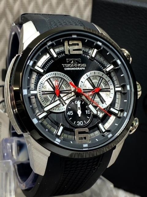 NEWモデル 新品 テクノス TECHNOS 正規品 腕時計 クロノグラフ ラバーベルト国内正規保証 3Dフェイス【セーム革付き送料無料】_画像3