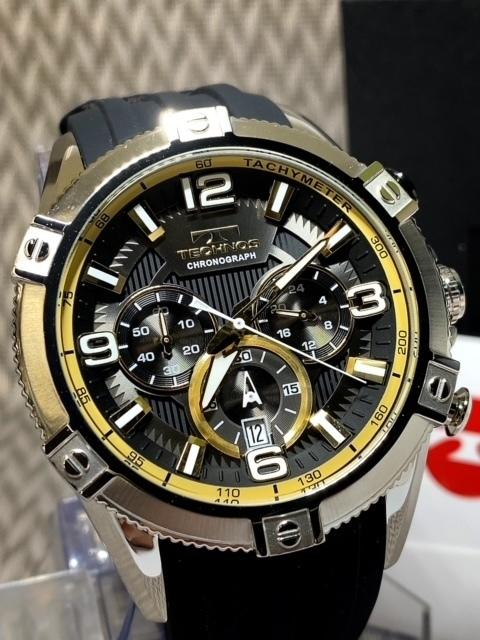 NEWモデル新品テクノスTECHNOS腕時計クロノグラフラバーベルトイエロー 国内正規保証【高級セームプレゼント送料無料】_画像3