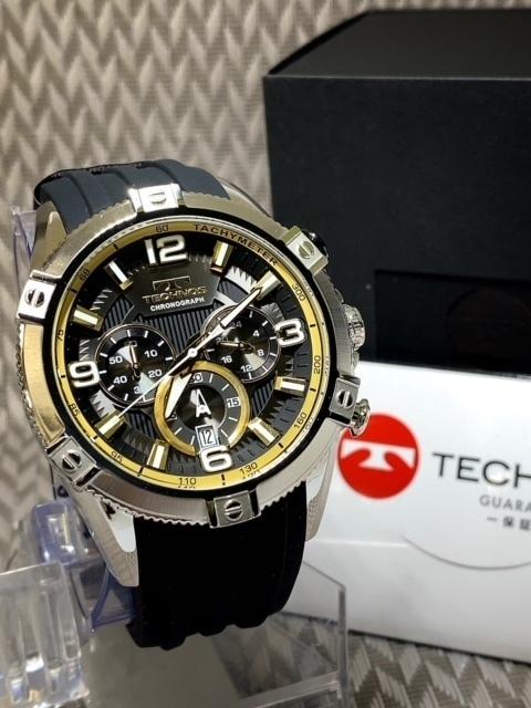 NEWモデル新品テクノスTECHNOS腕時計クロノグラフラバーベルトイエロー 国内正規保証【高級セームプレゼント送料無料】_画像5