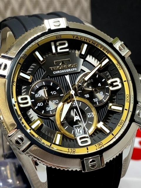 NEWモデル新品テクノスTECHNOS腕時計クロノグラフラバーベルトイエロー 国内正規保証【高級セームプレゼント送料無料】_画像4