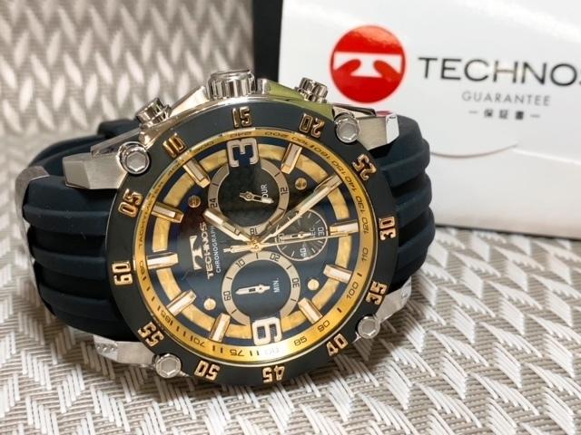 NEWモデル 新品 テクノス TECHNOS 腕時計 クロノグラフ カーボン文字盤 ラバーベルト ゴールド 国内正規保証送料無料 セーム革付_画像8
