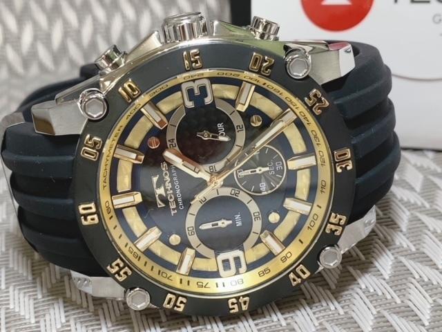 NEWモデル 新品 テクノス TECHNOS 腕時計 クロノグラフ カーボン文字盤 ラバーベルト ゴールド 国内正規保証送料無料 セーム革付_画像6