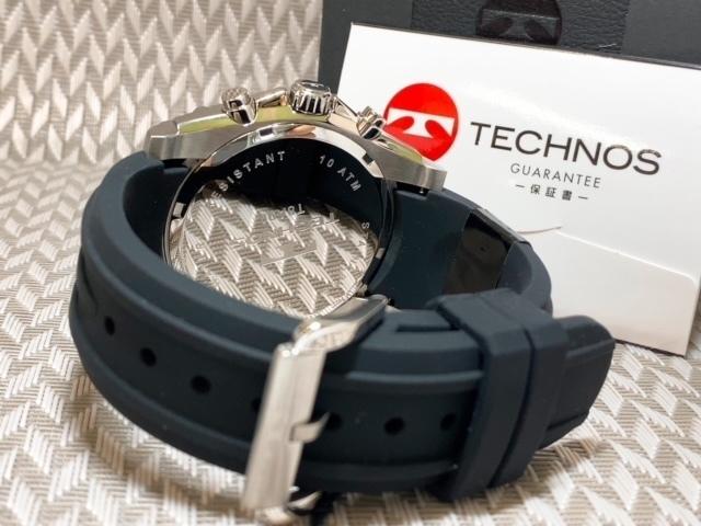 NEWモデル 新品 テクノス TECHNOS 腕時計 クロノグラフ カーボン文字盤 ラバーベルト ゴールド 国内正規保証送料無料 セーム革付_画像9