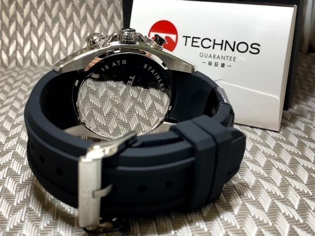 NEWモデル新品テクノスTECHNOS腕時計クロノグラフラバーベルトイエロー 国内正規保証【高級セームプレゼント送料無料】_画像9