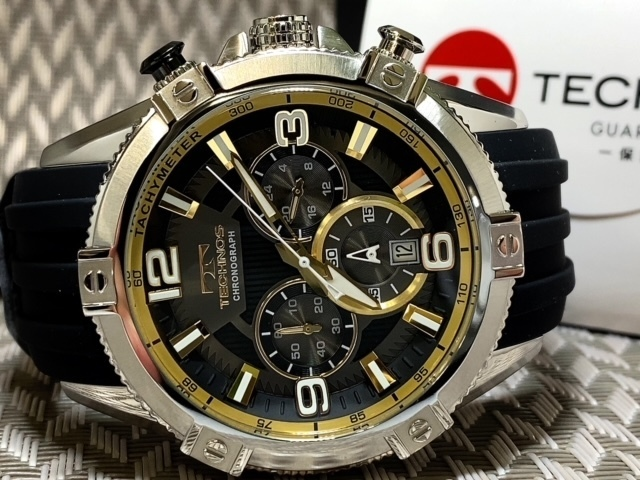 NEWモデル新品テクノスTECHNOS腕時計クロノグラフラバーベルトイエロー 国内正規保証【高級セームプレゼント送料無料】_画像6