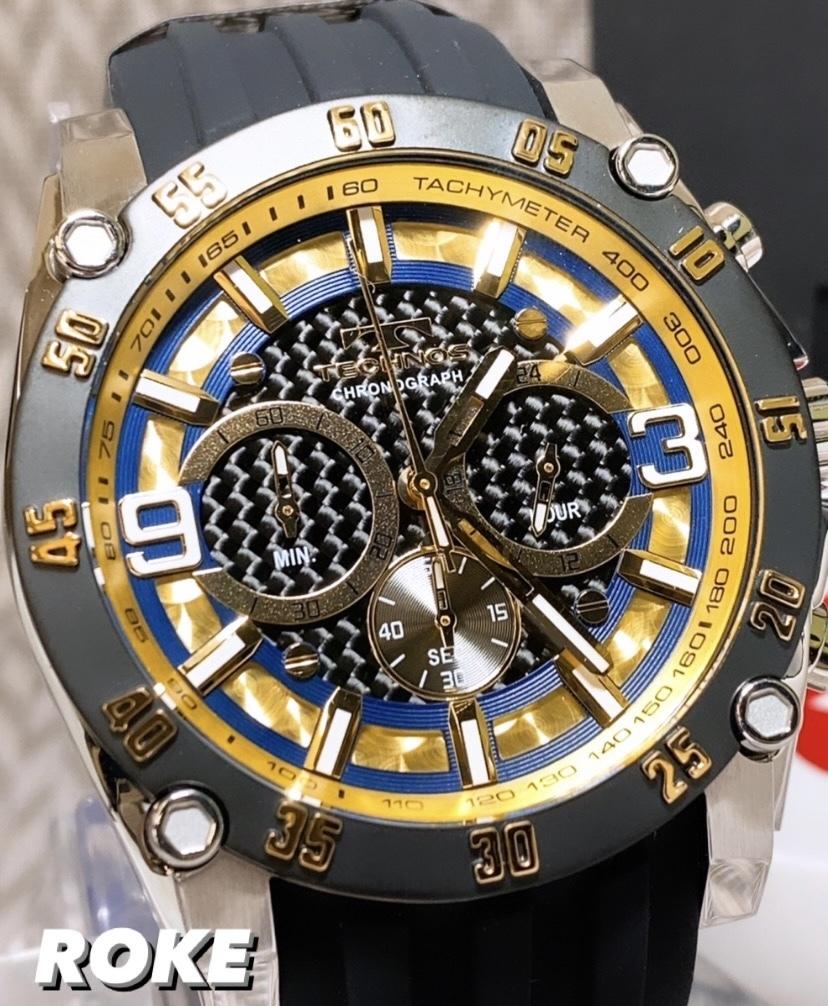 NEWモデル 新品 テクノス TECHNOS 腕時計 クロノグラフ カーボン文字盤 ラバーベルト ゴールド 国内正規保証送料無料 セーム革付_画像2